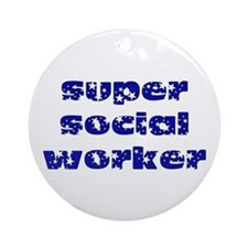super social worker (Navy) Ornament (Round)