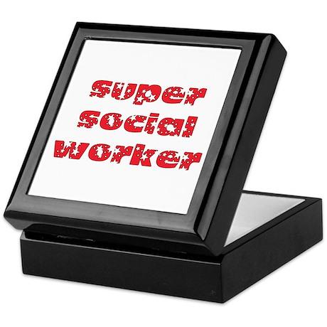 super social worker (Red) Keepsake Box