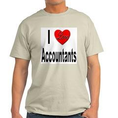 I Love Accountants (Front) Ash Grey T-Shirt