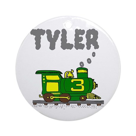 Tyler 3 Green & Yellow Train Ornament (Round)