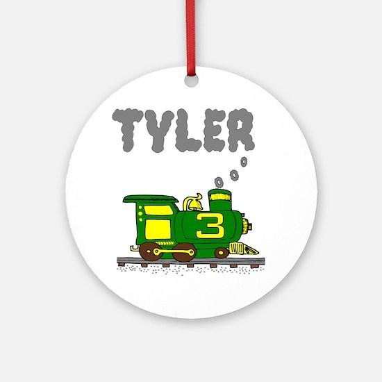 Tyler 3 Green & Yellow Train Ornament (Round)