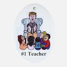 Male Elementary School Teache Oval Ornament