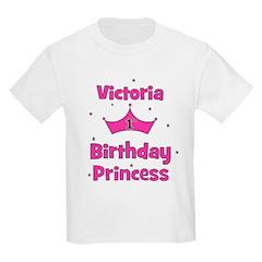 1st Birthday Princess Victori Kids Light T-Shirt