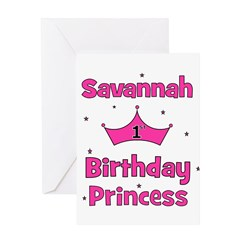 1st Birthday Princess Savanna Greeting Card