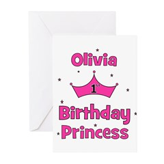 1st Birthday Princess Olivia! Greeting Cards (Pk o