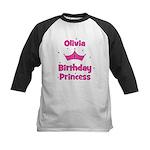 1st Birthday Princess Olivia! Kids Baseball Jersey