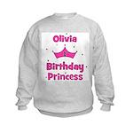 1st Birthday Princess Olivia! Kids Sweatshirt