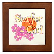 Little Surfer Girl Framed Tile