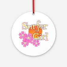 Little Surfer Girl Ornament (Round)