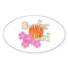 Little Surfer Girl Oval Decal