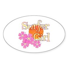Little Surfer Girl Oval Stickers