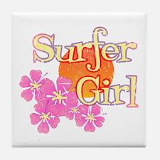 Little Surfer Girl Tile Coaster