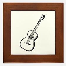 Black Woodcut Guitar Framed Tile