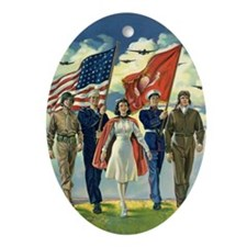 Vintage Patriotic Military Ornament (Oval)