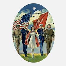 Vintage Patriotic Military Ornament (Oval)