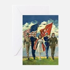 Vintage Patriotic Milita Greeting Cards (Pk of 20)