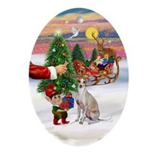 Santa's Italian Greyhound Treat Oval Ornament