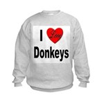 I Love Donkeys (Front) Kids Sweatshirt