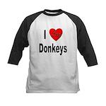 I Love Donkeys Kids Baseball Jersey