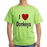 I Love Donkeys Green T-Shirt