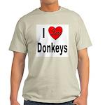 I Love Donkeys (Front) Ash Grey T-Shirt