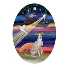 Christmas Star & Italian Greyhound Oval Ornament