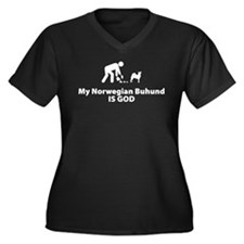 Norwegian Buhund Women's Plus Size V-Neck Dark T-S