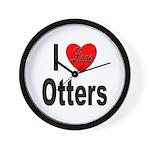 I Love Otters Wall Clock