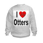 I Love Otters (Front) Kids Sweatshirt