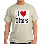I Love Otters Ash Grey T-Shirt