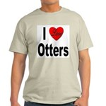 I Love Otters (Front) Ash Grey T-Shirt