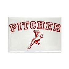 Pitcher - Red Rectangle Magnet (100 pack)