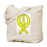 Yellow Peace Ribbon Tote Bag