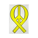 Yellow Peace Ribbon Rectangle Magnet (10 pack)