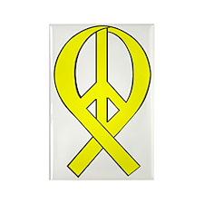 Yellow Peace Ribbon Rectangle Magnet