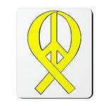 Yellow Peace Ribbon Mousepad