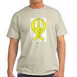 Yellow Peace Ribbon Ash Grey T-Shirt