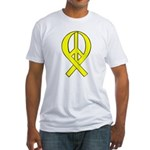 Yellow Peace Ribbon Fitted T-Shirt