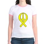 Yellow Peace Ribbon Jr. Ringer T-Shirt