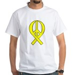 Yellow Peace Ribbon White T-Shirt
