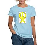Yellow Peace Ribbon Women's Pink T-Shirt