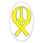 Yellow Peace Ribbon Oval Sticker
