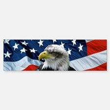 Bald Eagle American Flag Bumper Sticker (10 pk)