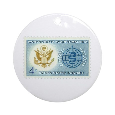 Malaria Stamp Ornament (Round)