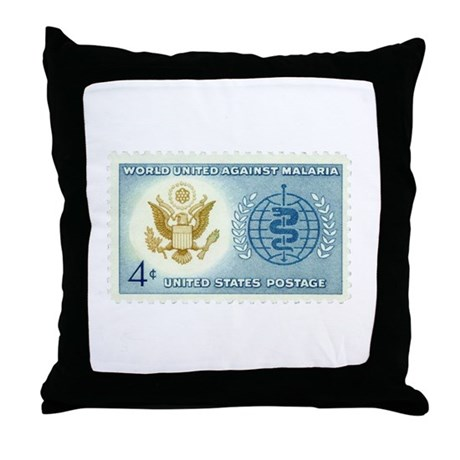Malaria Stamp Throw Pillow
