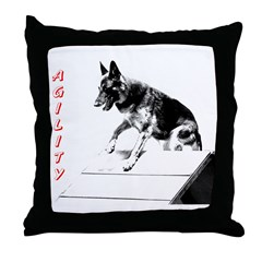 german shepherd agility afram Throw Pillow