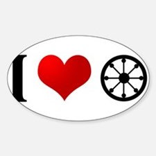 I Heart Buddhism Oval Decal