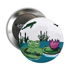 """Frog on a Lilypad 2.25"""" Button (10 pack)"""