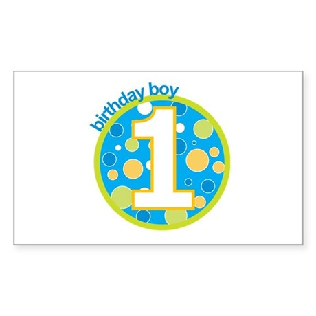 first birthday boy t-shirts Rectangle Sticker