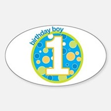 first birthday boy t-shirts Oval Decal